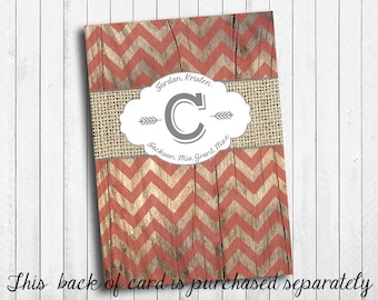 Photo Christmas Card Back Of Card Rustic Burlap With Red Chevron on Vintage Wood and String Lights with Holly Custom Printable Digital