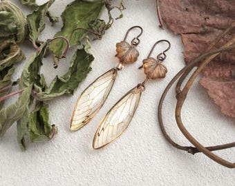 Nature Lover Gift For Her,  Cicada Wing Earrings, Insect Jewelry, Nature Inspired, Eco Resin, Cicada Jewelry, Glass Leaf Earrings, Rustic