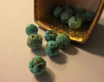 Carved Turquoise Magnesite Lotus Beads, 10mm, Set of 2