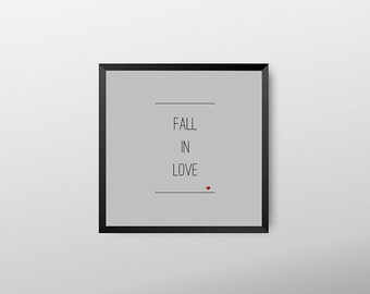 Love typography,  fall in love, typographic print, love quotes, square typography, love print, quotes, love home decor, modern art prints