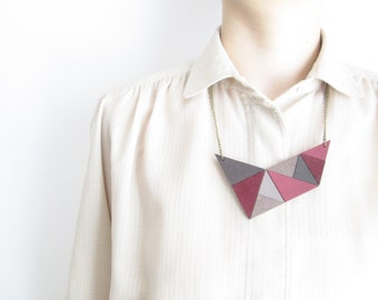 Pink Geometric Necklace Pink leather necklace