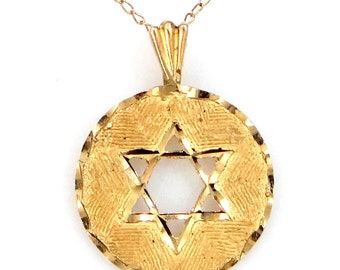 14k Gold Star of David Judaica Necklace