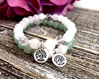 Silver Tree of Life Bracelet Stack