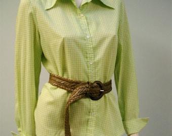 Vichy Vintage chemisier Ivan Kafoury conçoit le maillot vert et blanc des années 70