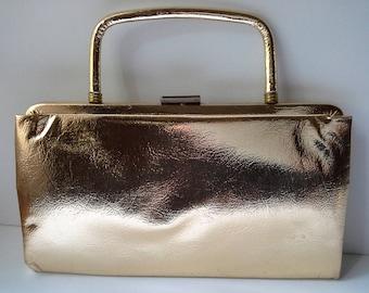 Garay Purse, Garay Clutch, Vintage Gold Purse, Gold Metallic Clutch, Gold Clutch, Gold Evening Bag, Metallic Evening Bag, Garay Evening Bag