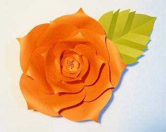 Large Paper Flower, Orange, Wall Decor, Event Decor