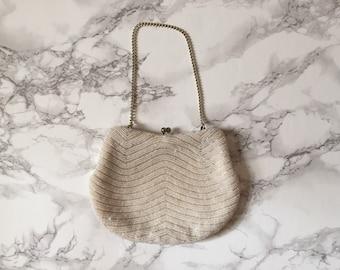 1940s beaded evening purse / seed beaded 40s kiss lock clutch