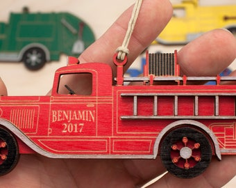 Personalized Laser Engraved Firetruck Christmas Ornament
