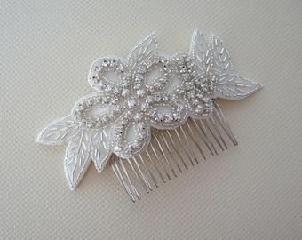 Rhinestone Hair Comb, Glamourous Bridal Hair Accessory, Wedding Head Piece, Bridesmaid, Silver Hair Comb, VIVIAN