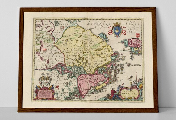 Historical Map of Lapland Old Map Finland Rovaniemi Inari