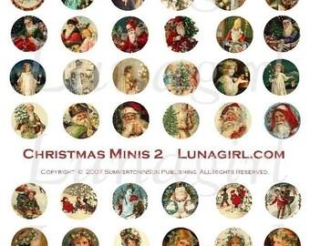 CHRISTMAS PENDANTS digital collage sheet, bottlecaps 1-inch craft circles, Victorian Holidays images vintage ephemera art charms DOWNLOAD