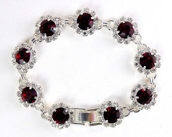 Ruby Red & Crystal Rosette Flower Links Bracelet, Rhodium Settings