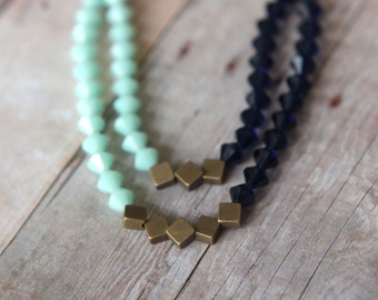 Mint Indigo Blue Necklace  Swarovski Crystal Statement Piece  Double Strand  Antiqued Brass  Wedding  Gift Box