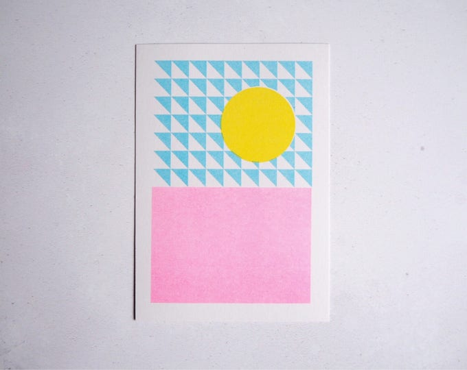 Summer sunshine - Mini pattern print - Risograph print A6