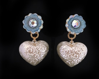 CUTE pearl hearts with scroll detail vintage frosted blue flower with AB crystal center super kawaii!