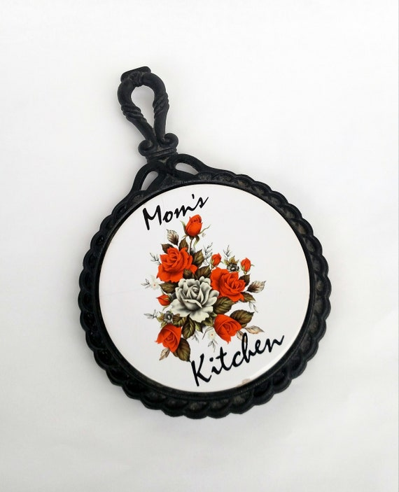 Vintage 1970's Mom's Kitchen Floral Ceramic Trivet in Wrought Iron Frame