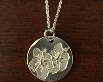 Two Hibiscus Flowers necklace- Hibiscus Pendant - Flowers Pendant-Handmade in 925 Sterling Silver-Nice gift to wear all day every day!