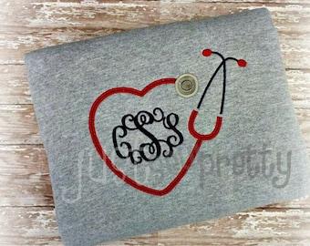 Monogram Heart Stethoscope Embroidery Applique Design