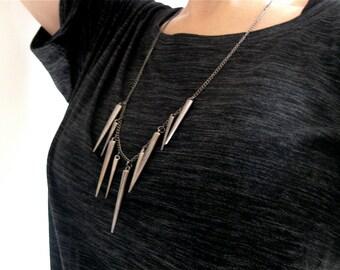 RIHANNA Gun Metal Spike Necklace