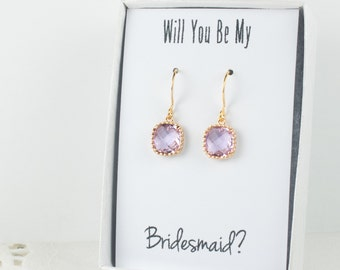 Lavender Gold Earrings, Square Gold Lavender Earrings, Lavender Wedding Jewelry, Bridesmaid Earrings, Purple Bridal Accessories