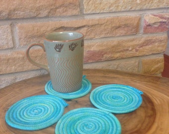 Coiled rope coasters (4); clothesline coasters; hand-dyed clothesline coasters; hand-dyed art