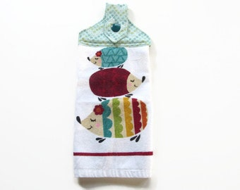 Hedgehogs Hanging  Kitchen Towel - Tab Top Kitchen Towel  -Stacked Hedgehogs Kitchen Towel
