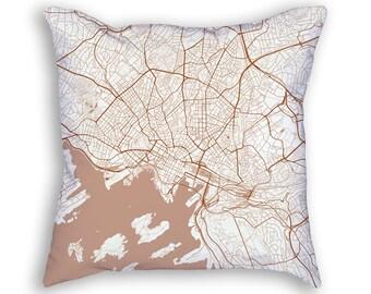 Oslo Norway City Street Map Throw Pillow