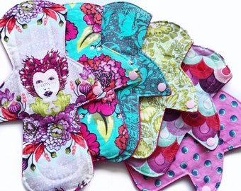 LAST ONE Lucy and Mabs Elizabeth Mama Cloth Reusable Pads/ Starter Set of Six