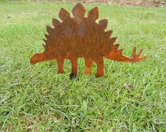 4x Dinosaur Decoration / Rusty Metal Dinosaur Art / Garden Decoration / Dino Gift / T-Rex / Stegosaurus / Triceratops / Brachiosaurus