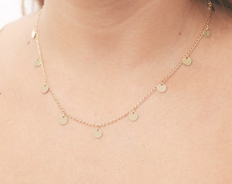 Gold necklace tiny gold disc necklace layering necklace Coin necklace minimalist delicate gold filled jewelry.