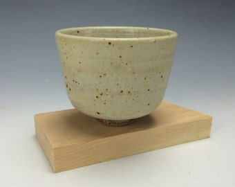 Small Cream and Brown Spotted Ceramic Bowl, Clay Chawan with Spiral, Unique Matcha Bowl, Modern Home Decor, Dips Bowl