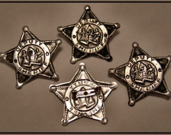 FIVE 1960's Tin Deputy Sheriff Badges Toy COOL