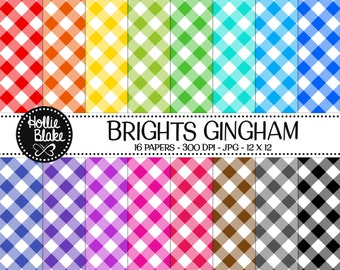 50% off SALE!! 16 Bright Gingham Digital Paper • Rainbow Digital Paper • Commercial Use • Instant Download • #GINGHAM-102-B