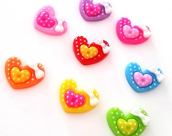 LOT 8 CABOCHON heart A Polka dot bow resin child baby hair clip jewelry SCRAPBOOKING SCRAP sewing 20 x 15 mm