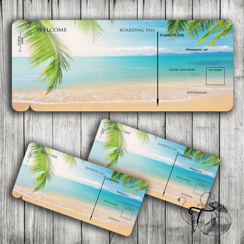 Bordkarte Reisen Printable Hochzeit Vorlage Ziel tropischen