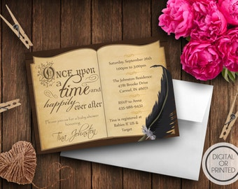 Story Book Baby Shower Invitation, Book Themed Baby Shower Invitation, Once Upon a Time Baby Shower Invitations, Library, Fairy Tale