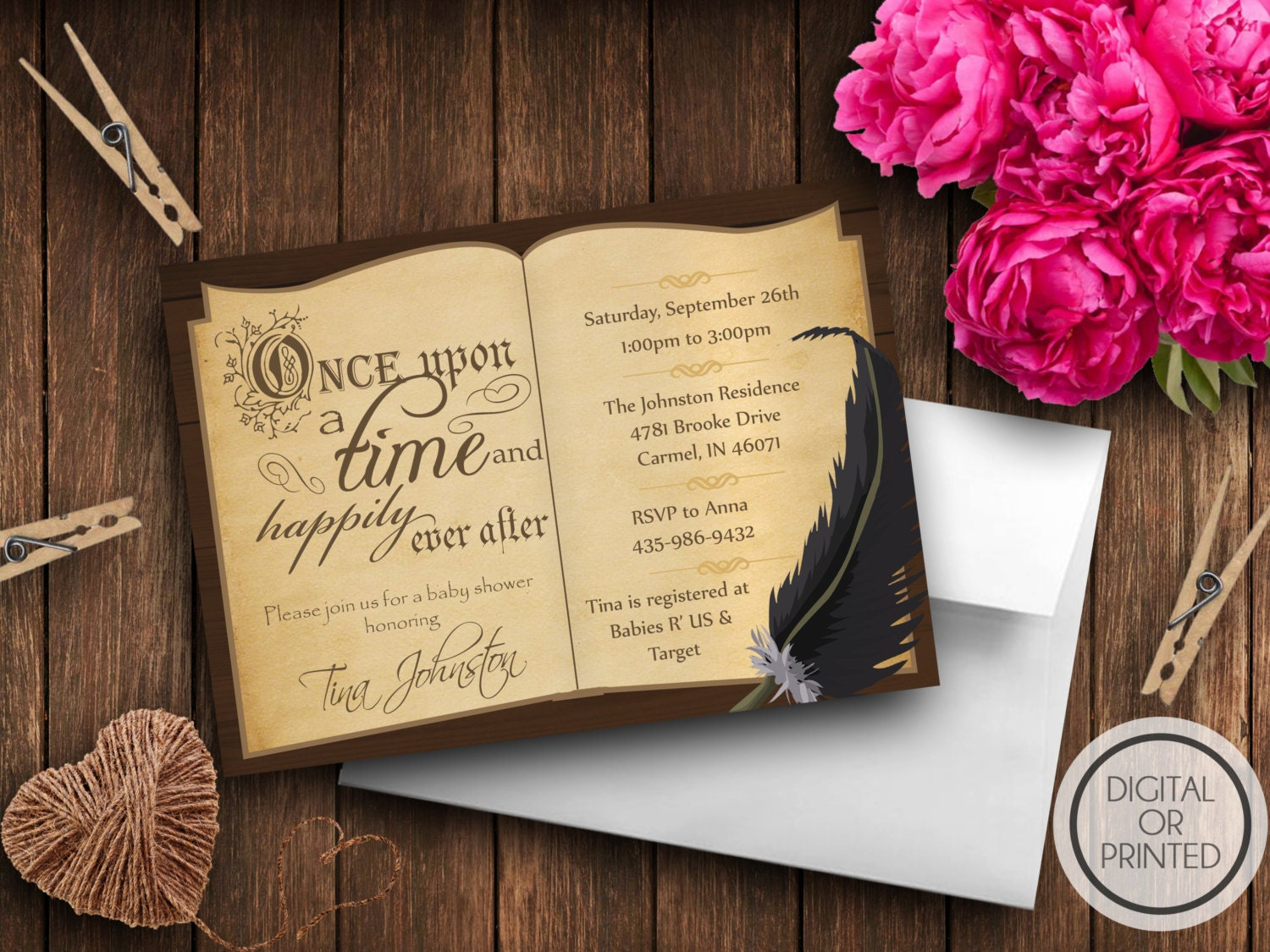 Story book baby shower invitation book themed baby shower zoom filmwisefo Gallery