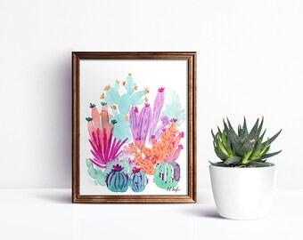 watercolor cactus, original art, cactus garden, pink cactus, blue cactus, cactus art, cactus decor, wall art, home decor, painting, boho art