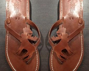 Moose Sandals - Animal lover Flip Flops - Handmade leather Shoes