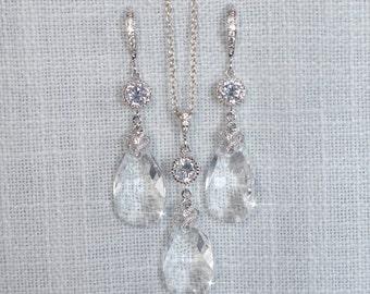 Handmade Swarovski Crystal Clear Dangle Necklace & Earrings Set, Bridal, Wedding (Sparkle-2699)