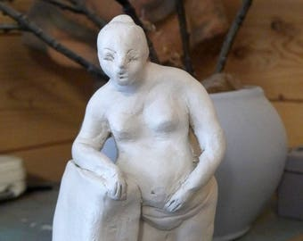 Female nude Sculpture, Contemporary Art, stoneware figurine