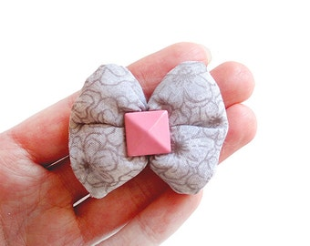 Gray Floral Blossom Puffy Bow Hair Clip