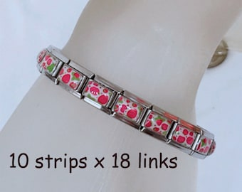 Lot of 10 strips of 18 links 9mm strawberry italian charm bracelets BC73
