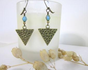 Triangle Earrings - Antique Brass - Dangle