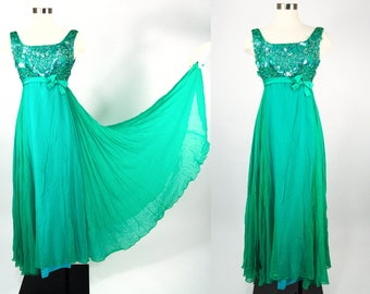 1960s Green Full Length Dress, Green Sequined Formal Gown, Vintage Empire Waist Dress, Sleeveless Prom Dress 60s, Long Green Evening Gown