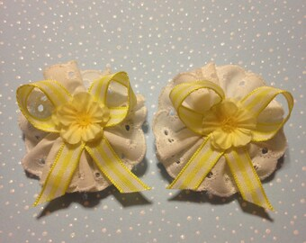 White Ruffled Eyelet Lace with Yellow and White Checkered Ribbon and a Yellow Silk Flower