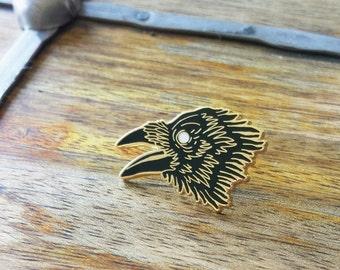 Dark Wings, Raven Enamel Lapel Pin | High Polish, Enamel & Gold Plated