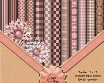 Digital Scrapbook Paper Digital Download Pink and Brown DP010
