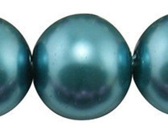 14mm Teal Glass Pearl Beads - 12 pcs