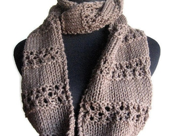 Taupe Heather  Lace Striped Infinity Scarf, The Stacey Scarf, Taupe Knit Circle Scarf, Cowl Scarf, Vegan Knit Scarf Infinity